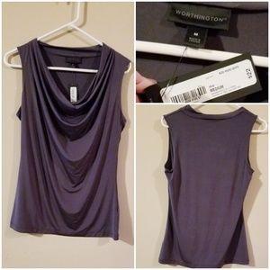 NWT Worthington silky sleeveless dark gray top